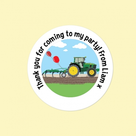 Green Farm Tractor - Sweet Bag Stickers - Pack of 35