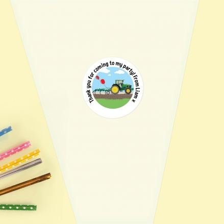 Green Farm Tractor - Sweet Cone Bag & Sticker - Pack of 35