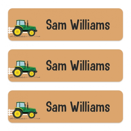 Medium Personalised Stick On Waterproof (Equipment) Name Labels - Green Tractor - Pack of 42