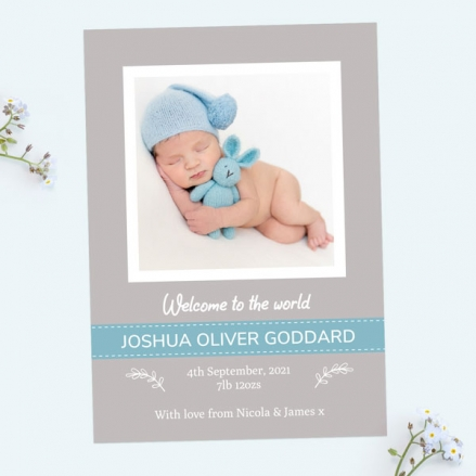 Baby Announcement Cards - Grey & Blue Photo - Pack of 10
