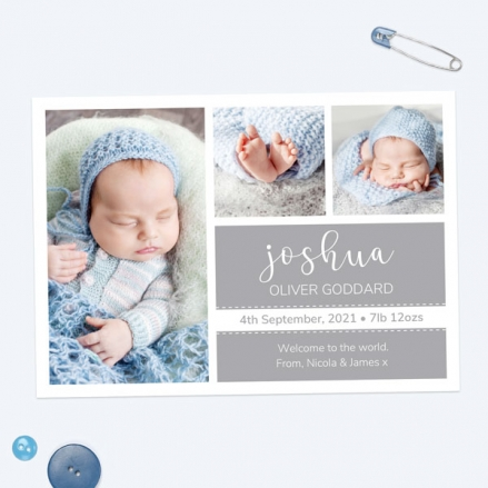 Baby Announcement Cards - Grey Photo Trio - Pack of 10