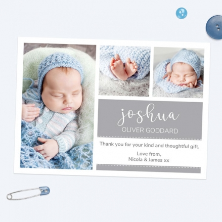 Thank You - Grey Photo Trio - Pack of 10