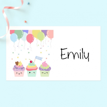 Happy Cupcakes - Party Sticker - Pack of 10