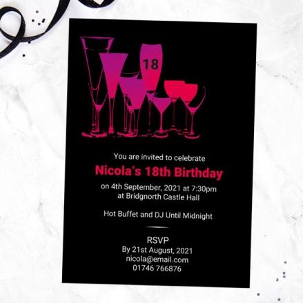 18th Birthday Invitations - Happy Hour