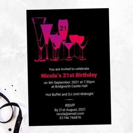 21st Birthday Invitations - Happy Hour