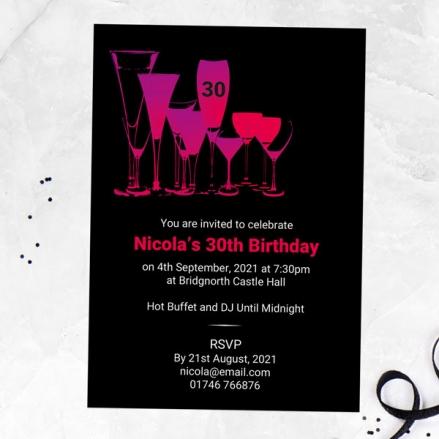 30th Birthday Invitations - Happy Hour