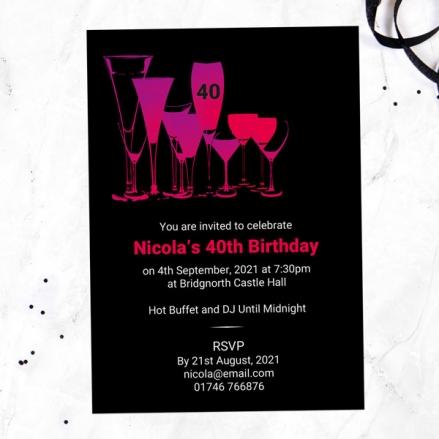40th Birthday Invitations - Happy Hour