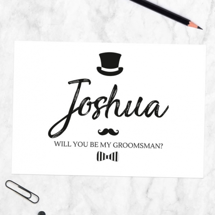 Will You Be My Groomsman? - Hat Moustache