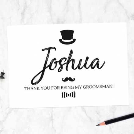 Thank You For Being My Groomsman - Hat Moustache