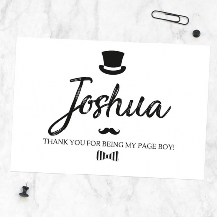 Thank You For Being My Page Boy - Hat Moustache