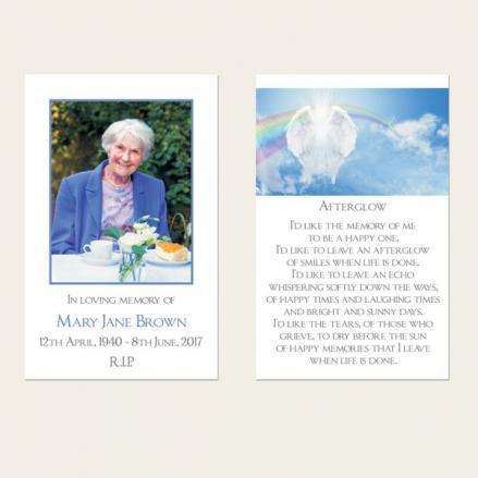Funeral Memorial Cards - Heavenly Rainbow