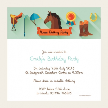 Personalised Kids Birthday Invitations - Horse Riding Party - Pack of 10