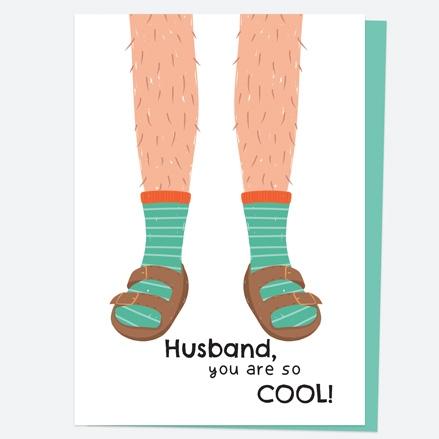 Husband Birthday Card - Socks & Sandals - Husband