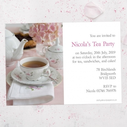 Tea Party Invitations - Hydrangea Afternoon Tea