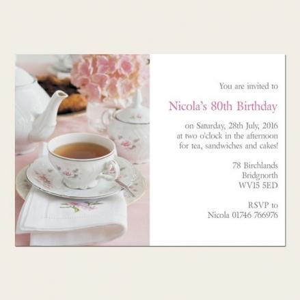 80th Birthday Invitations - Hydrangea Afternoon Tea