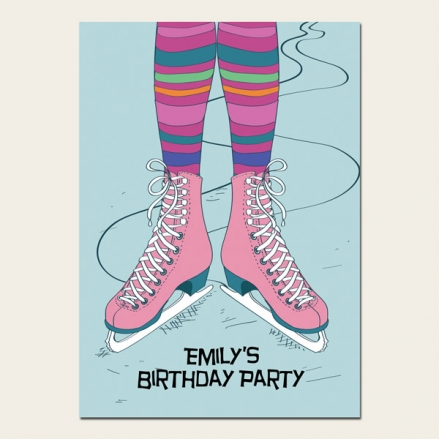Personalised Kids Birthday Invitations - Ice Skating Party - Pack of 10