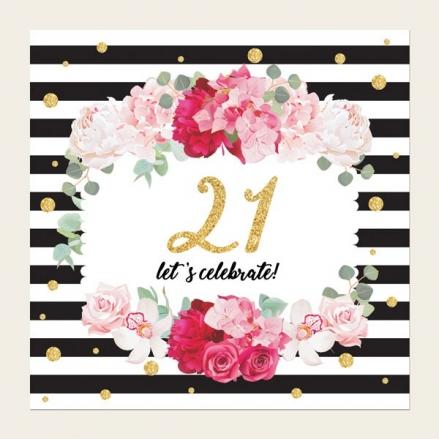 21st Birthday Invitations - Striped Peony Pattern