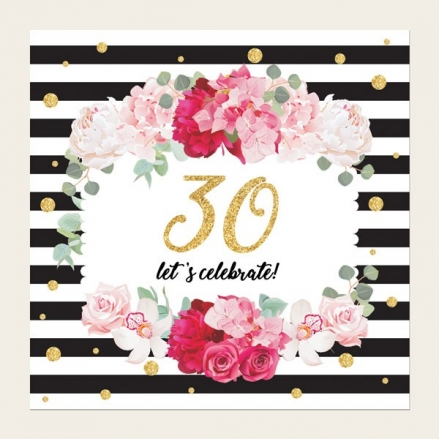 30th Birthday Invitations - Striped Peony Pattern