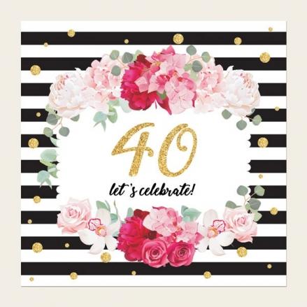40th Birthday Invitations - Striped Peony Pattern