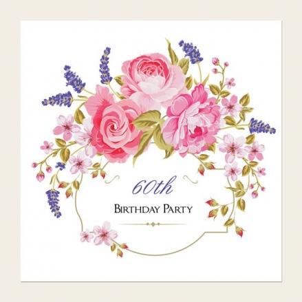 60th Birthday Invitations - Rose & Lavender Border