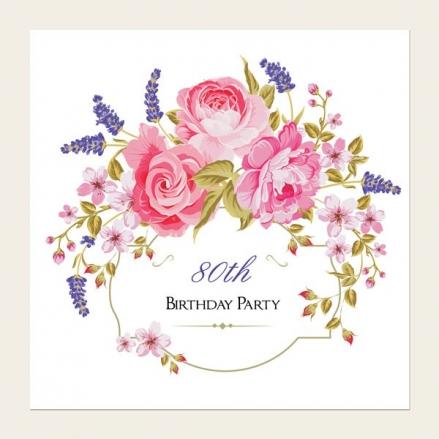 80th Birthday Invitations - Rose & Lavender Border