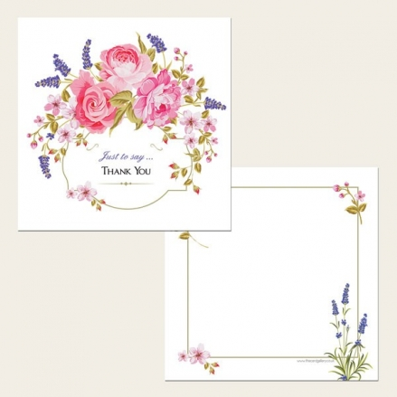 Ready to Write Thank You Cards - Rose & Lavender Border