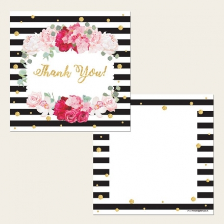 Ready to Write Thank You Cards - Striped Peony Pattern