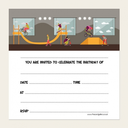 Ready To Write Childrens Birthday Invitations - Skate Park Party - Pack of 10