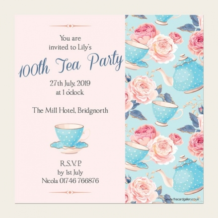100th Birthday Invitations - Teapots & Roses