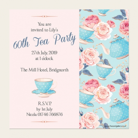 60th Birthday Invitations - Teapots & Roses