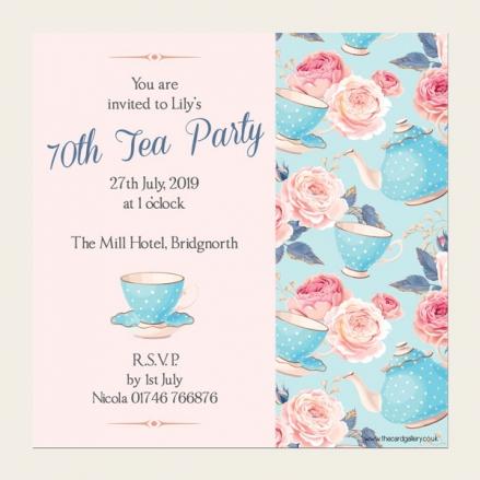 70th Birthday Invitations - Teapots & Roses