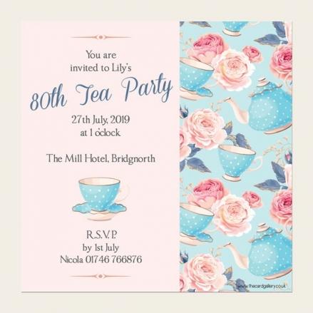80th Birthday Invitations - Teapots & Roses