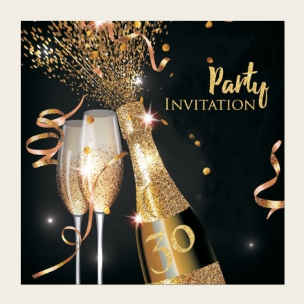 30th Party Invitations - Gold Sparkle Champagne