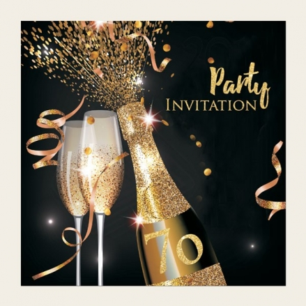 70th Party Invitations - Gold Sparkle Champagne
