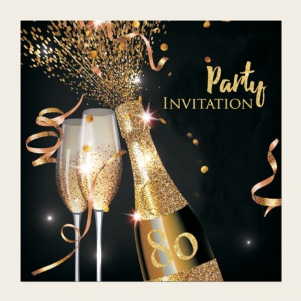 80th Party Invitations - Gold Sparkle Champagne