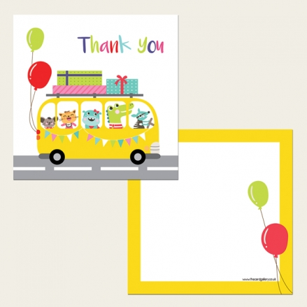 Ready to Write Kids Thank You Cards - Party Bus
