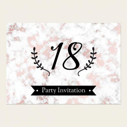 18th Birthday Invitations - Rose Gold Marble