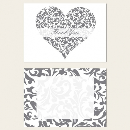 Ready to Write Thank You Cards - Silver & White Heart Pattern