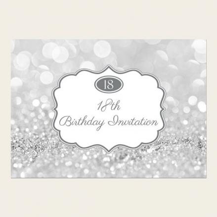 18th Birthday Invitations - Silver Glitter