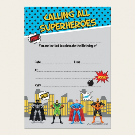 Ready To Write Childrens Birthday Invitations - Superheroes Party - Pack of 10