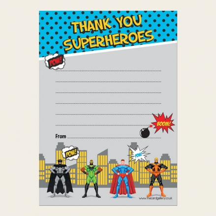 Ready to Write Childrens Thank You Cards - Superheroes Party