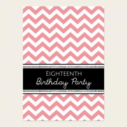 18th Birthday Invitations - Coral Chevron Pattern