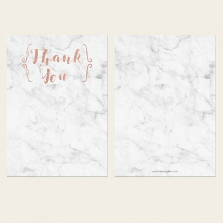 Ready to Write Thank You Cards - Marble & Rose Gold Typography