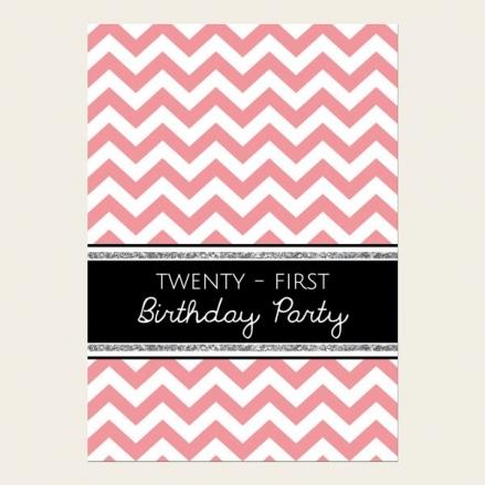 21st Birthday Invitations - Coral Chevron Pattern