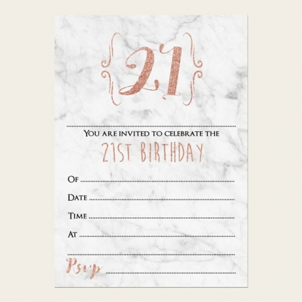 21st Birthday Invitations - Marble & Rose Gold Typography