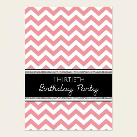 30th Birthday Invitations - Coral Chevron Pattern
