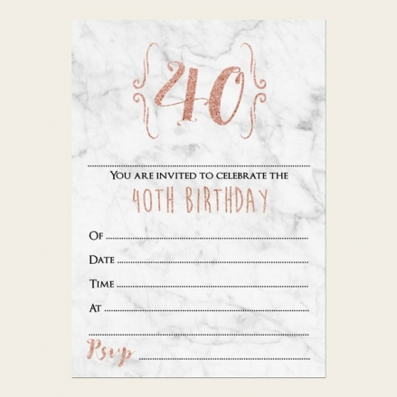 40th Birthday Invitations - Marble & Rose Gold Typography