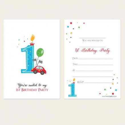 Ready To Write Kids Invitations - Boys 1st Birthday Cars