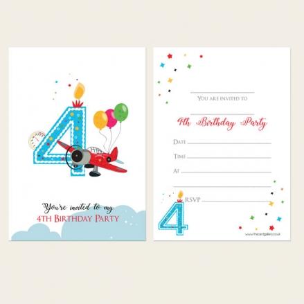 Ready To Write Kids Invitations - Boys 4th Birthday Aeroplane
