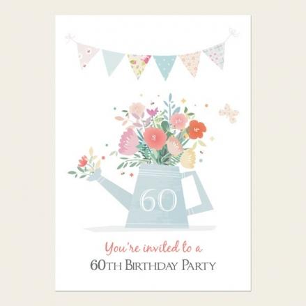 60th Birthday Invitations - Pastel Gardening